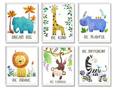 Baby Nursery Decor Jungle Safari Animal Unframed Wall Art -Set of 6 Posters 8x10