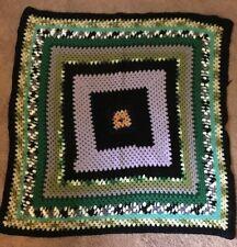 "Granny Square Afgan Throw Blanket 44"" x 44"" Crochet Multi Color"