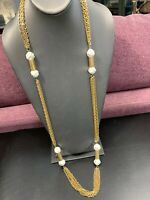 Vintage 1950's Gold Beaded Extra Long Multi Chain Sweater Necklace 40