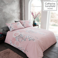Catherine Lansfield Duvet Set Reversible Oriental Blossom Pink Bedding Pillows