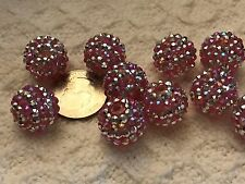 Beads-Pave Crystal, Disco, Studed Large Beads-Acrylic Pink AB Silverish x10=18mm
