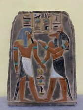 Vintage Egyptian Antiques King Amenhotep Gods Anubis Wall Stela Relief Stone Bc