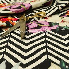 Black White Chevron Colour Floral Print Velour Velvet Upholstery Curtain Fabrics