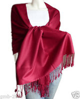 New Soft Classic Solid Dark Red 100% Cashmere Pashmina Wool Shawl Scarf Wrap