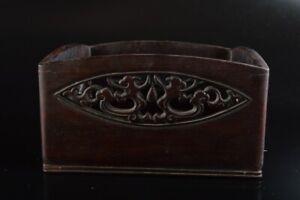 Q1104 : Japan Old Wooden Flower Arabesque sculpture WOODEN TRAY/plate Senchabon