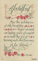 1910 Arts Crafts Saying Joy Embossed Flowers postcard 6080