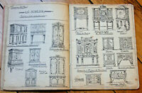 c1900 manuscript wood carver notebook building furniture illustrations drawings