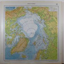 1929 original map ~ POLO NORD Groenlandia Alaska Islanda