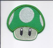 "3"" SUPER MARIO 1 UP Green Mushroom Iron On Embroidered Patch patches nintendo"