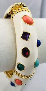 NEW KJL Kenneth J. Lane Jeweled White & Gold Enamel Bangle Bracelet Multi