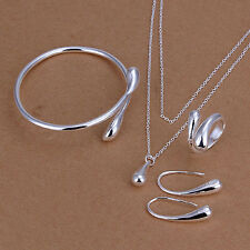Women Silver Plated Jewelry Set Bracelet Necklace Ring Oval Earings New Trendy