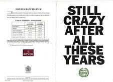 Rover Mini Cooper 1.3i Original UK Sales Brochure Pub. No. 4300 circa 1991