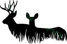 Deer Family in Field Vinyl Decal/Sticker Whitetail Deer Hunting Buck Doe
