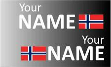 1 Pair Handed Norway Rally Car Name decal sticker graphics  Norwegian flag