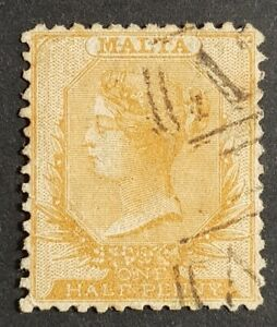 1863 Malta ½d Yellow Orange QV Victoria Used A25 Perforation 12.5 - SG15 CV £180