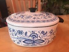 VTG White Blue Flower Enamelware Cooking Soup Pot Sweden? Excellent Condition!