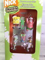 2006 Nickelodeon Spongebob Squarepants 5 Piece Mini Ornament Set Christmas