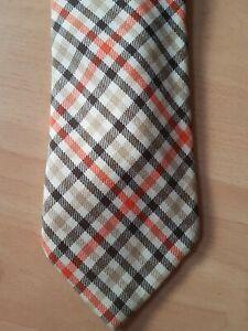 John Paterson England Orange Beige Black Check Kipper Vintage Tie