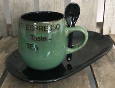 4 Mug/Cup Plate & Spoon Set Green/Black Coffee Cappuccino Expresso Tea Kitchen