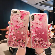 For iPhone X 8 6S 7 Plus Quicksand Flower Patterned Soft Silicone TPU Cover Case