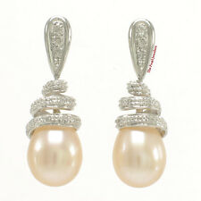 14k White Gold Sets 6 Sparkling Diamonds; Peach Pearls Dangle Stud Earrings TPJ