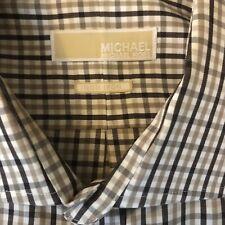 Michael Kors Mens Non-Iron Camel Taupe Plaid Dress Shirt 17.5 34/35