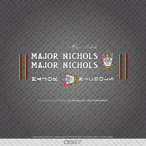 0567 Major Nichols Bicycle Frame Stickers - Decals - Transfers
