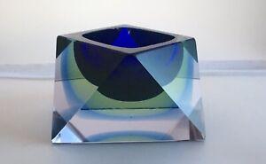 Vintage Retro Murano Flavio Poli for Seguso Sommerso Diamond Glass Bowl1960s