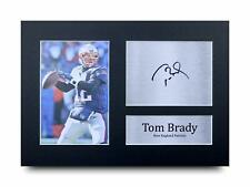 More details for tom brady signed printed a4 photo gift new england patriots american football