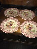 """Set Of 6 Royal Doulton Pomeroy 10 1/2"""" Dinner Plates  Pink Floral Basket Scene."""