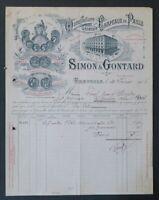 Facture 1906 CHAPEAU DE PAILLE SIMON GONTARD GRENOBLE  belle entête illustrée 22