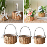 Rustic Rattan Woven Storage Basket Flower Wicker Decorative Flower Pot