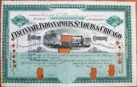 Cincinnati Indianapolis St. Louis Chicago Ralway 1889 Railroad Stock Certificate