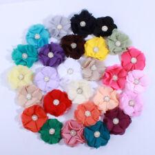 30PCS 5.5CM Cute Chiffon Flowers With Rhinestone Pearl For Hair Clips
