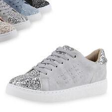 Damen Sneakers Glitzer Metallic Sportschuhe Schnürer Schuhe 814556 Top