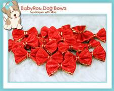 ~BabyRou~ 20pc Dog Grooming Ribbon Pet Bows (Classic Red & Gold)