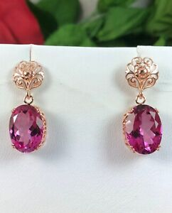 925 Sterling Silver/Unique Pink Topaz Earring/Rose Gold Plated Earring UG