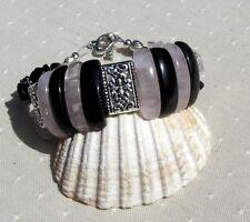 """Black Onyx & Rose Quartz Crystal Gemstone Chunky Cuff Bracelet """"Pink Dawn"""""""