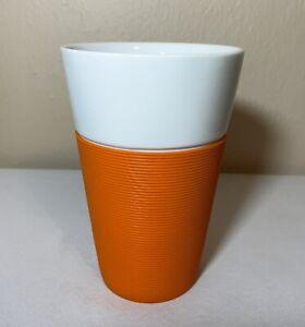 Bodum Bistro Porcelain Tall Mug Orange Silicone Sleeve 20 oz Beverage Coffee Cup