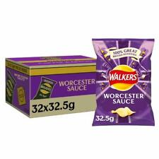 Walkers Worcester Sauce Crisps Box, 32.5 g, Case of 32