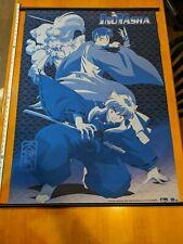 """Blue InuYasha Banner Wall Scroll Anime Fabric 42"""" x 31"""" Rumiko Takahashi ShoPro"""