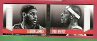 LEBRON JAMES & PAUL PIERCE GAME USED JERSEY CARD #d199 2013-14 PREFERRED BOOKLET
