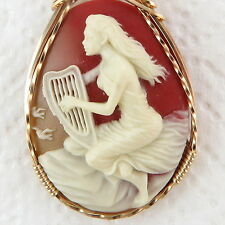 Lady Harp Cameo Pendant 14K Yellow Rolled Gold Jewelry Multi-Color Resin