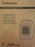 BNIB WESTINGHOUSE WHD0903 CERAMIC HEATER ADJUSTABLE THERMOSTAT 3 SETTINGS