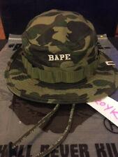 BAPE 1ST GREEN CAMO MILITARY HAT BOONIE BUCKET  A BATHING APE CAP MEDIUM M USED