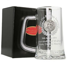 21st Birthday Gift, Engraved Pint Glass Tankard with Rugby Feature
