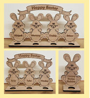 PERSONALISED EASTER GIFT CREAM EGG HOLDER EASTER BUNNY RABBIT KINDER TREAT HUNT