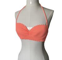 Victorias Secret Womens S High Tie Halter Bikini Top 34A Scalloped Hem Underwire