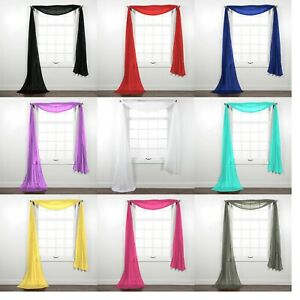 Fully Stitched Sheer Window Scarf Valance Topper Curtain Drapes in Many Colors
