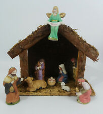 Christmas Nativity Set with 9 Porcelain Figures and Stable